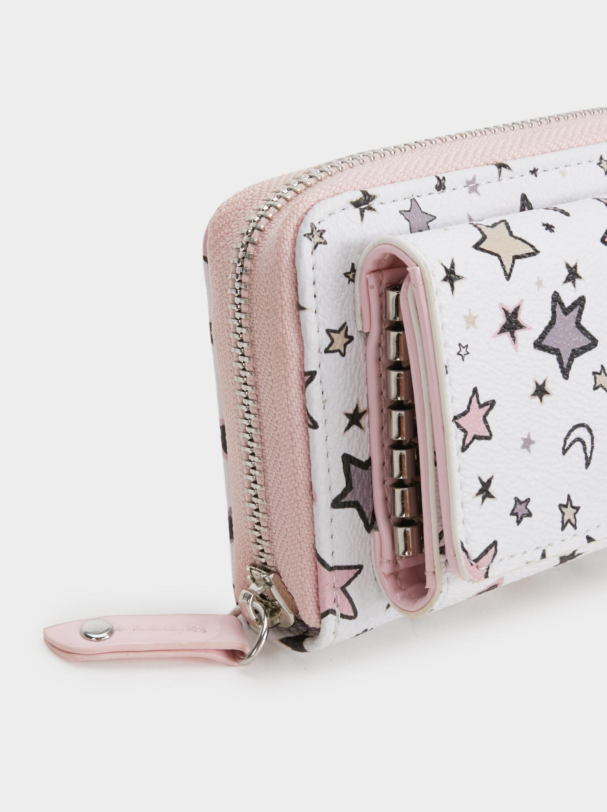 Star Print Card Holder, Pink, hi-res