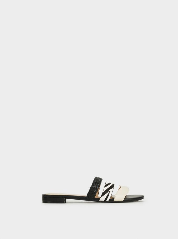 Flat Sandals With Animal Print, Black, hi-res