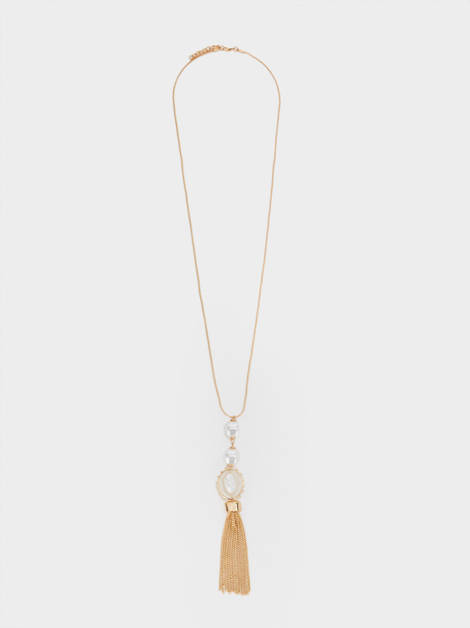 Long Pendant Necklace, Golden, hi-res