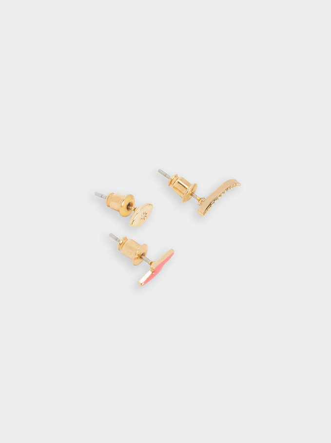 Set Of Short Earrings With Charms, Multicolor, hi-res