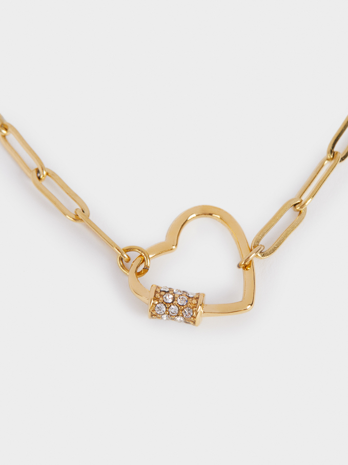 Short Stainless Steel Chain Necklace With Heart, Golden, hi-res