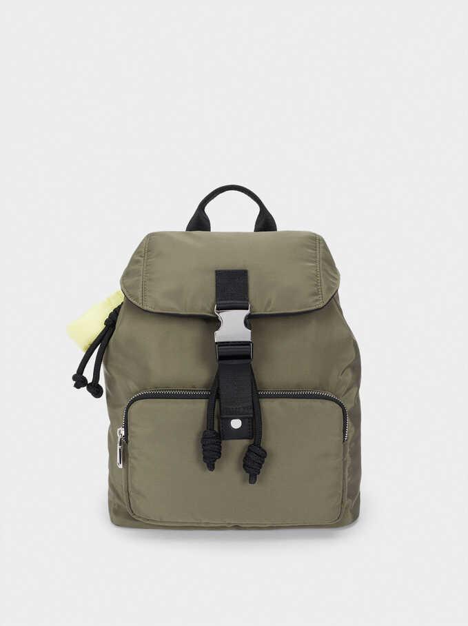 Nylon Backpack With Outer Pocket, Khaki, hi-res