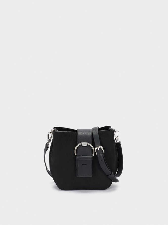 Faux Suede Tote Bag, Black, hi-res