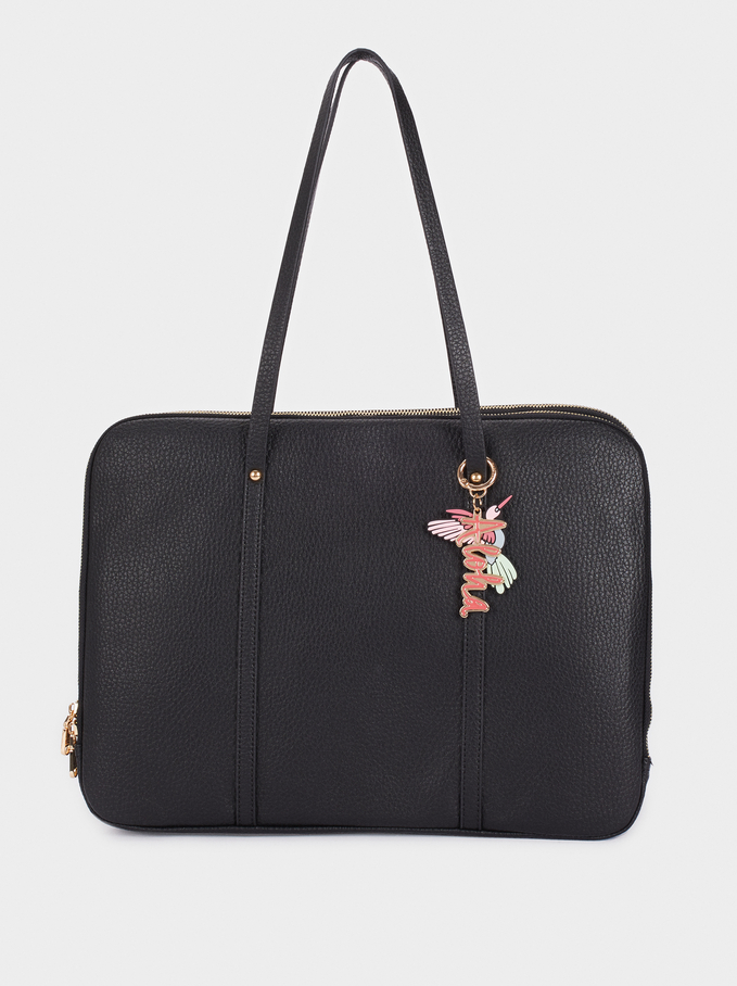 Briefcase With Charm, Black, hi-res