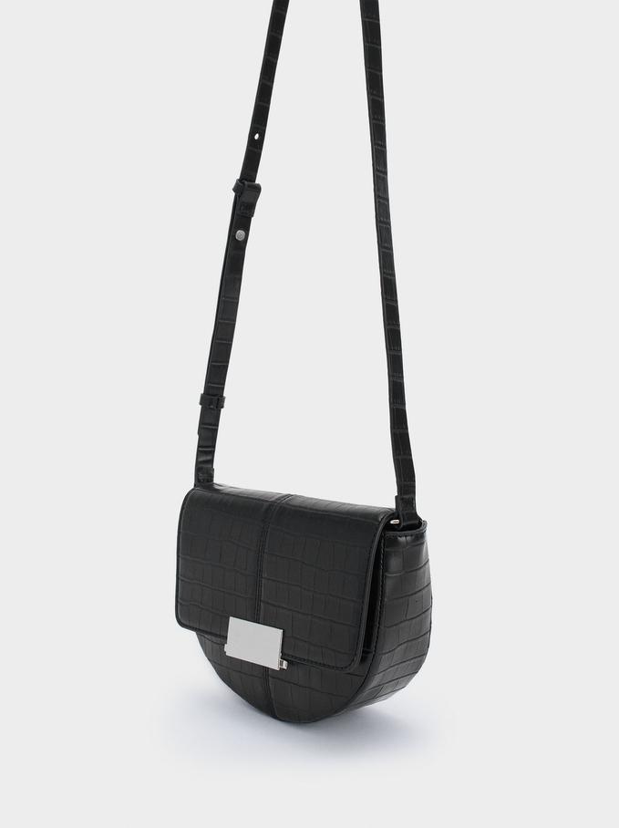 Animal Embossed Crossbody Bag, Black, hi-res