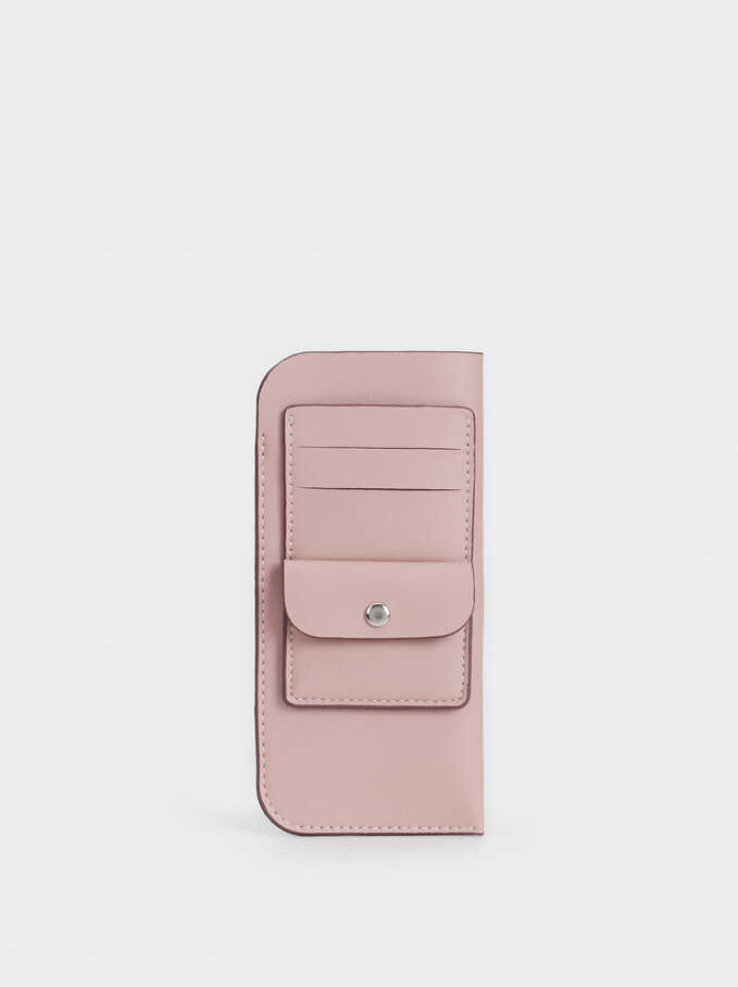 Eyeglass Pouch With Card Holder And Purse, Pink, hi-res