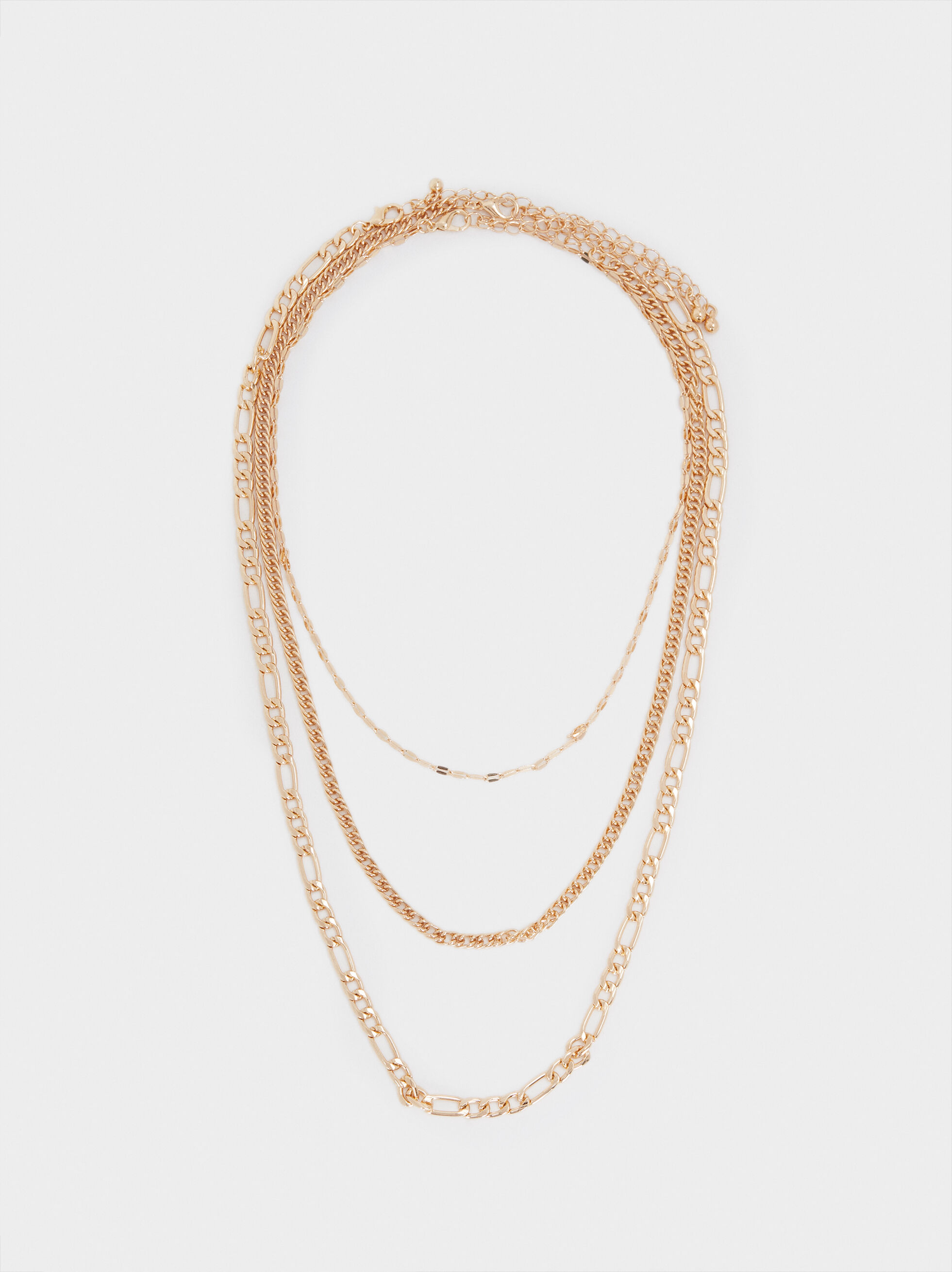 Set Of Gold Necklaces, Golden, hi-res