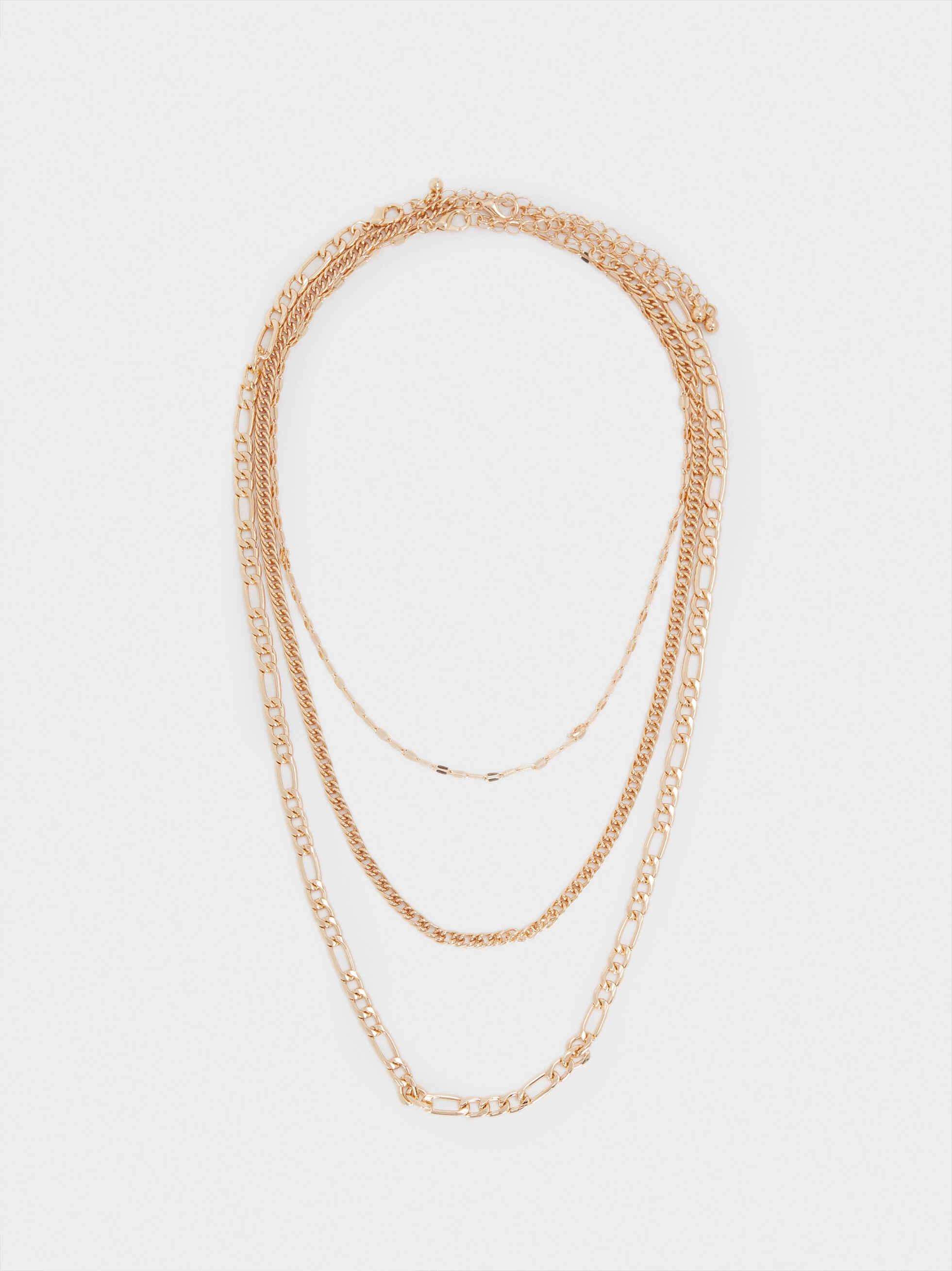 Set Of Gold Necklaces, Golden, hi-res