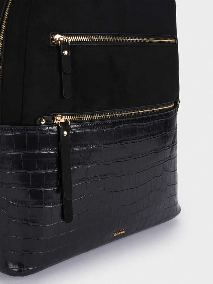 Embossed Backpack With Exterior Pocket, Black, hi-res