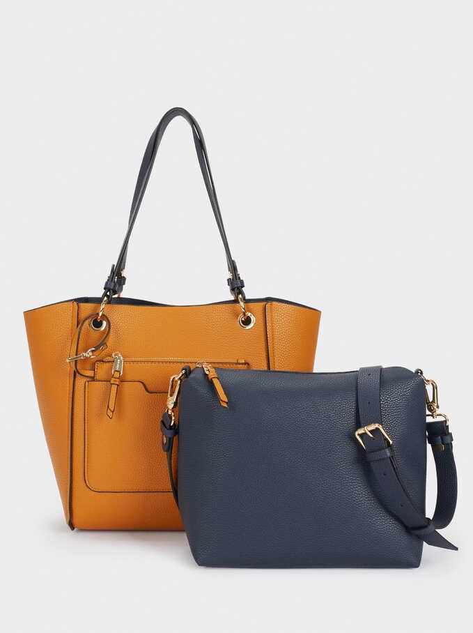 Bolso Shopper Reversible Con Interior Extraible, Azul Marino, hi-res