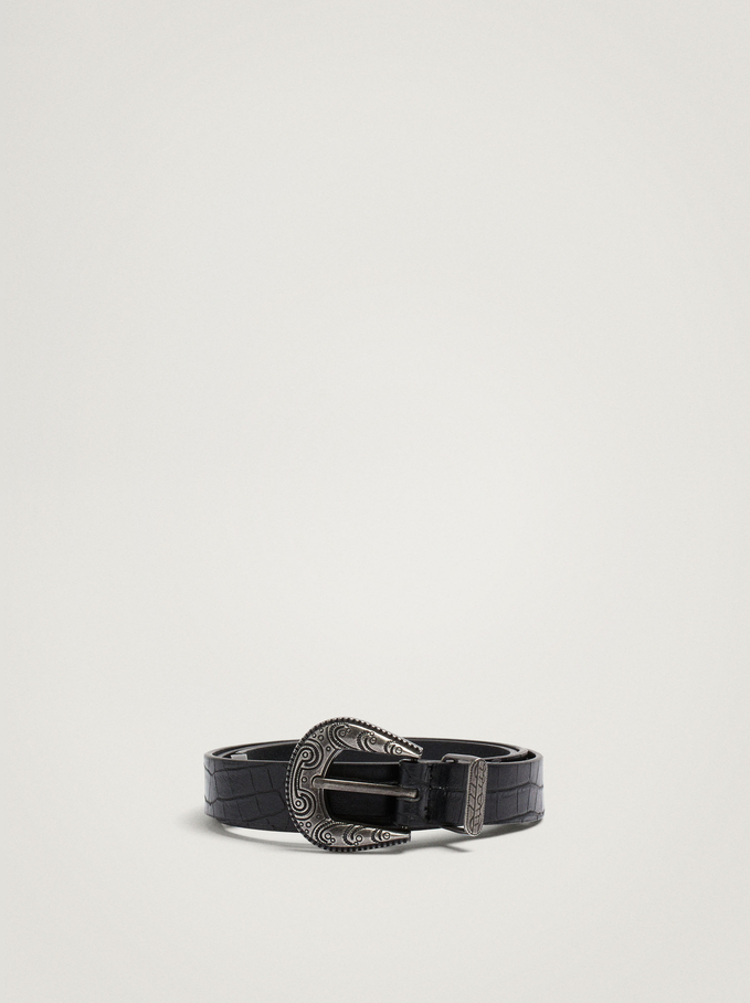 Belt With Round Buckle, Black, hi-res