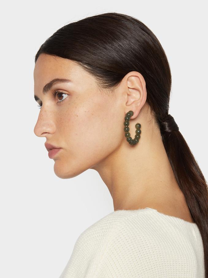 Stone Story Medium Hoop Earrings With Stones, Green, hi-res
