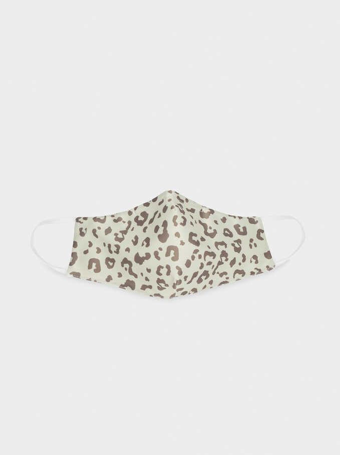 Animal Print Reusable Face Mask, Brown, hi-res