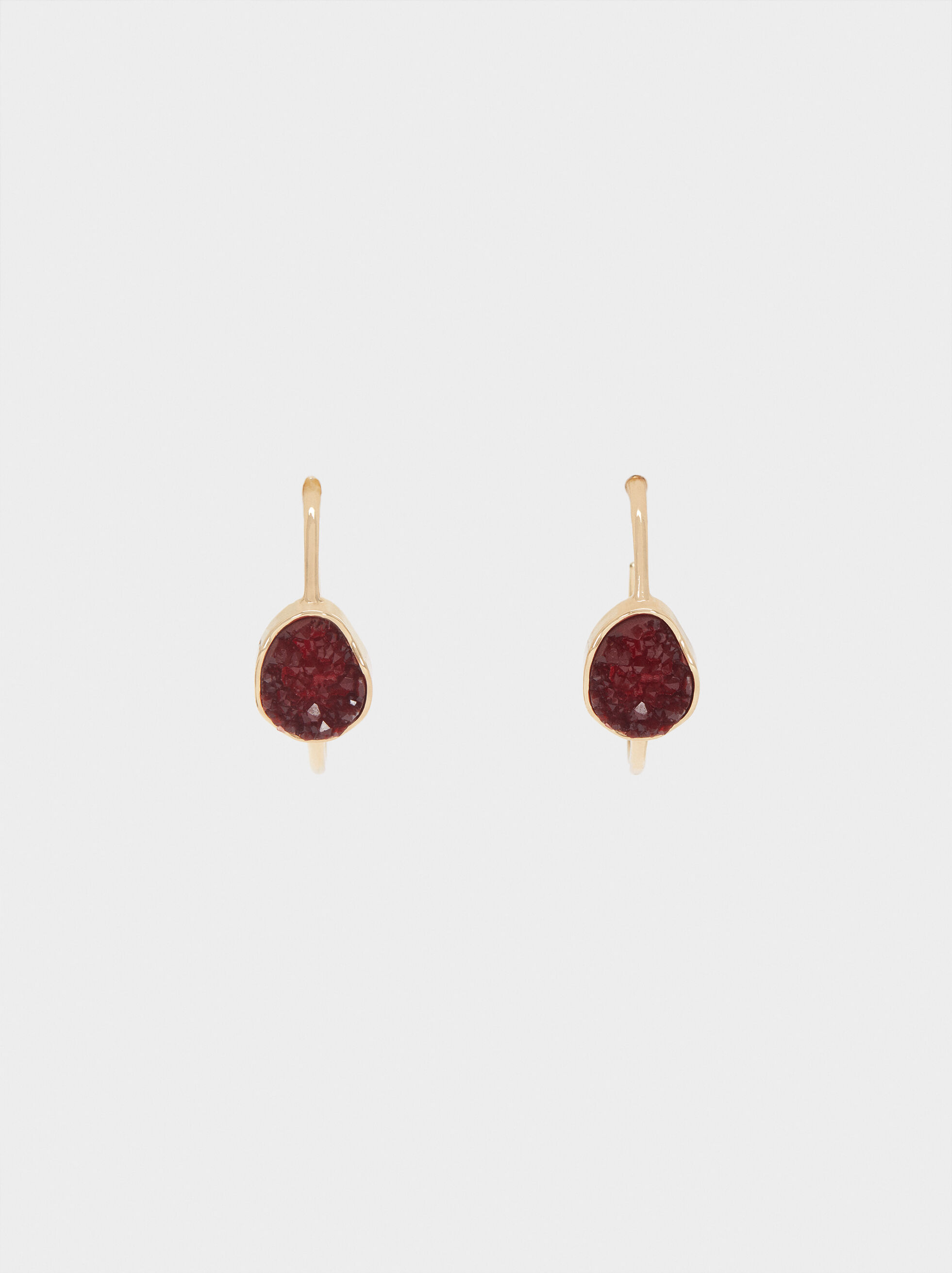 Medium Multicoloured Resin Earrings, Bordeaux, hi-res