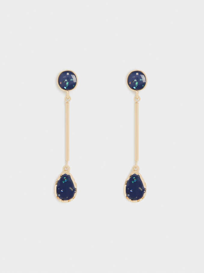 Long Enamel Earrings, Navy, hi-res
