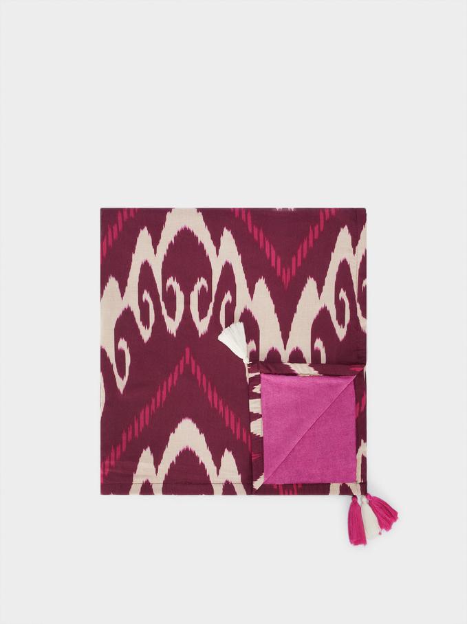 Printed Cotton Beach Towel, Bordeaux, hi-res