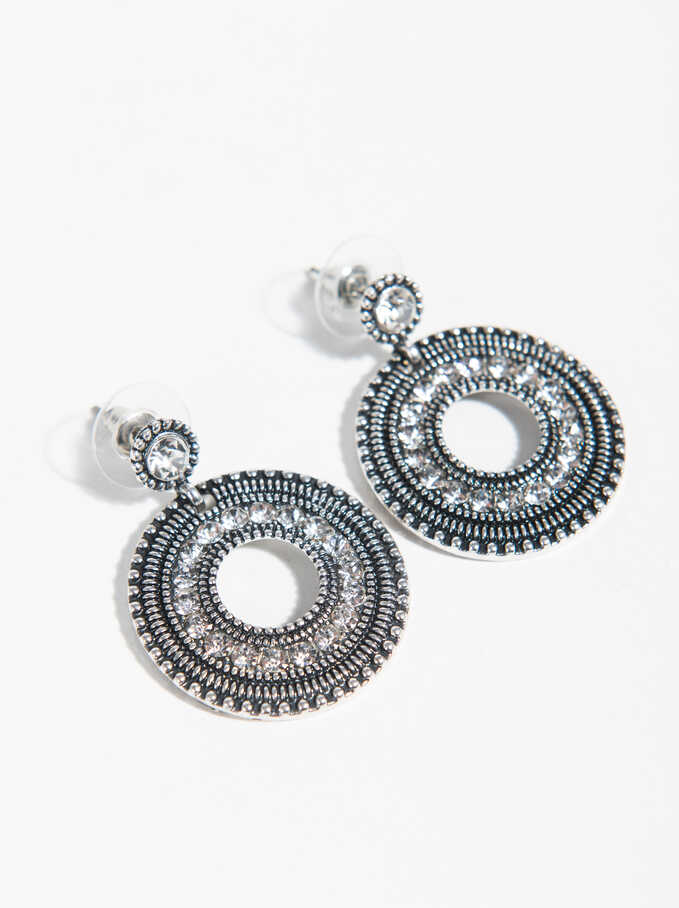 Basic Medium Earrings, Silver, hi-res