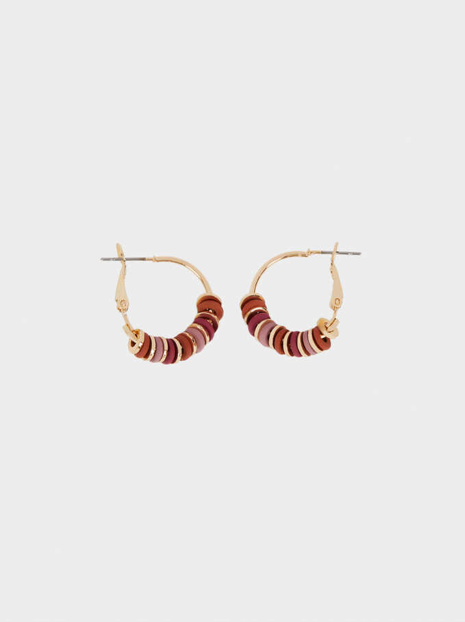 Hoop Earrings With Stones, Golden, hi-res