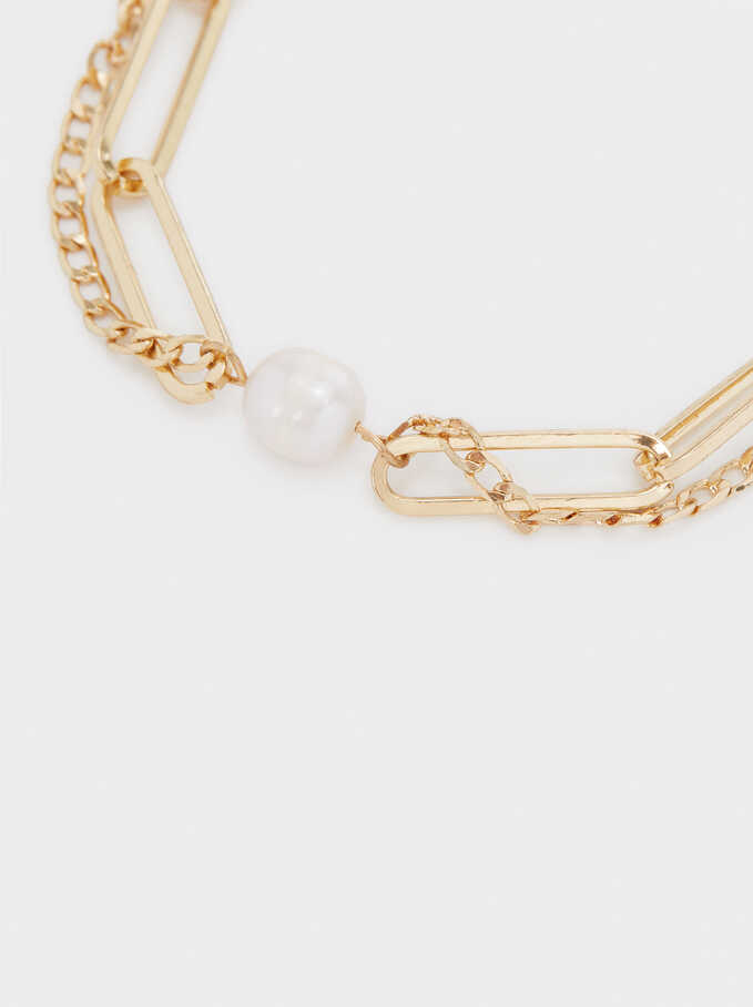 Gold-Toned Bracelet With Pearl, Golden, hi-res