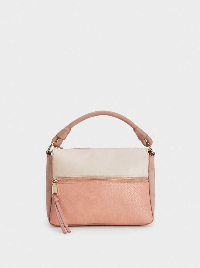Faux Suede Crossbody Bag With Handle, Coral, hi-res