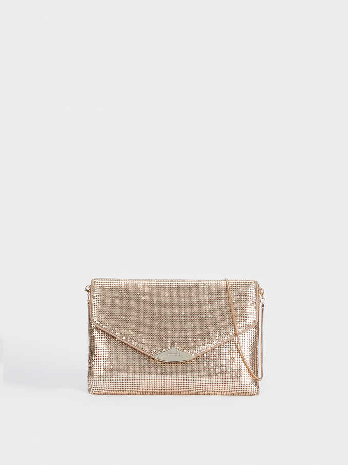 Mini Mesh Crossbody Bag, Golden, hi-res