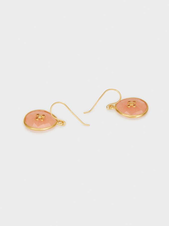 925 Silver Medium Pendant Earrings, Coral, hi-res