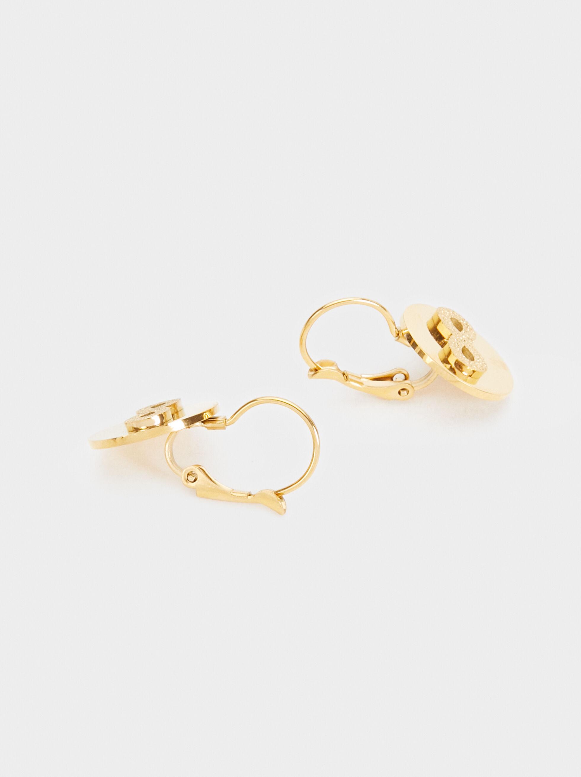 Infinity Medium Steel Earrings, Golden, hi-res