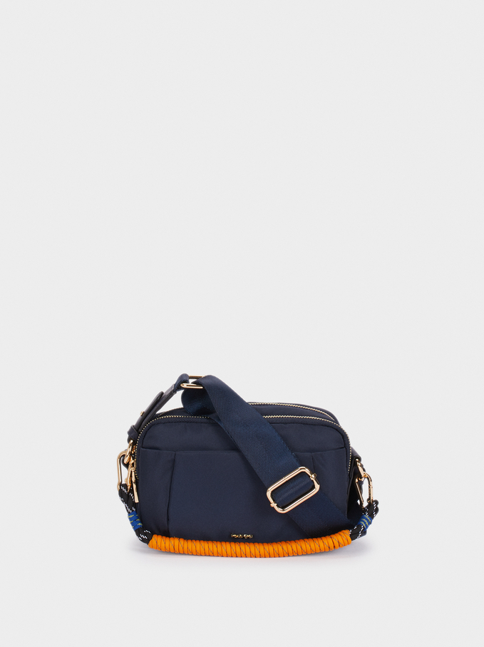 Nylon Crossbody Bag With Cord Handle Detail, Navy, hi-res