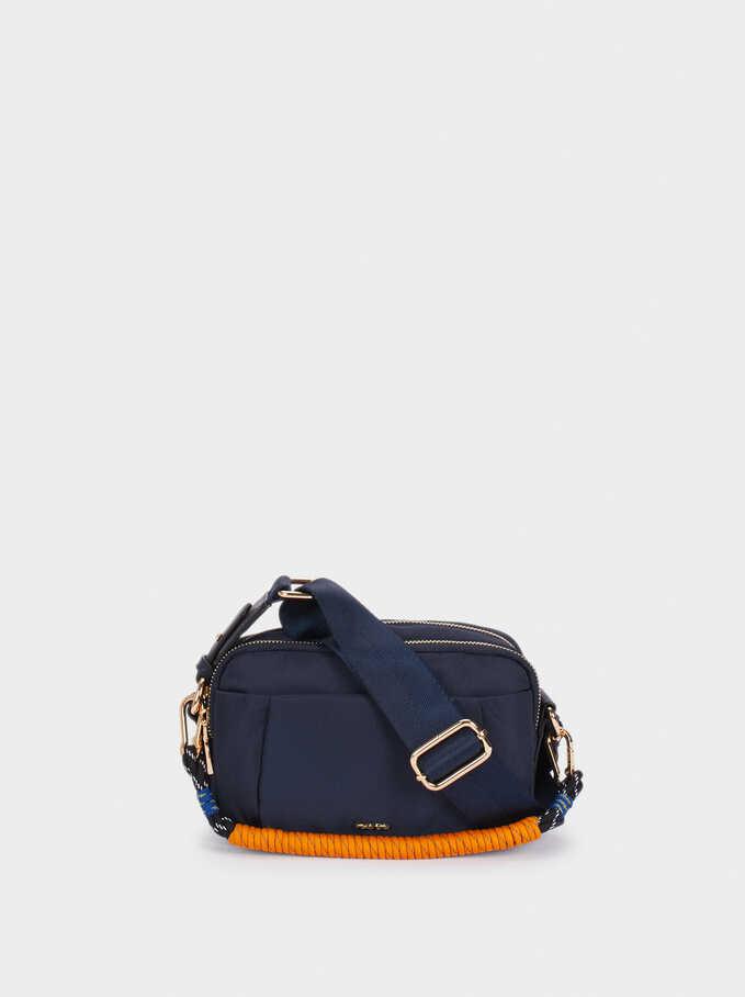 Nylon Crossbody Bag With Cord Handle Detail, Navy, hi-res