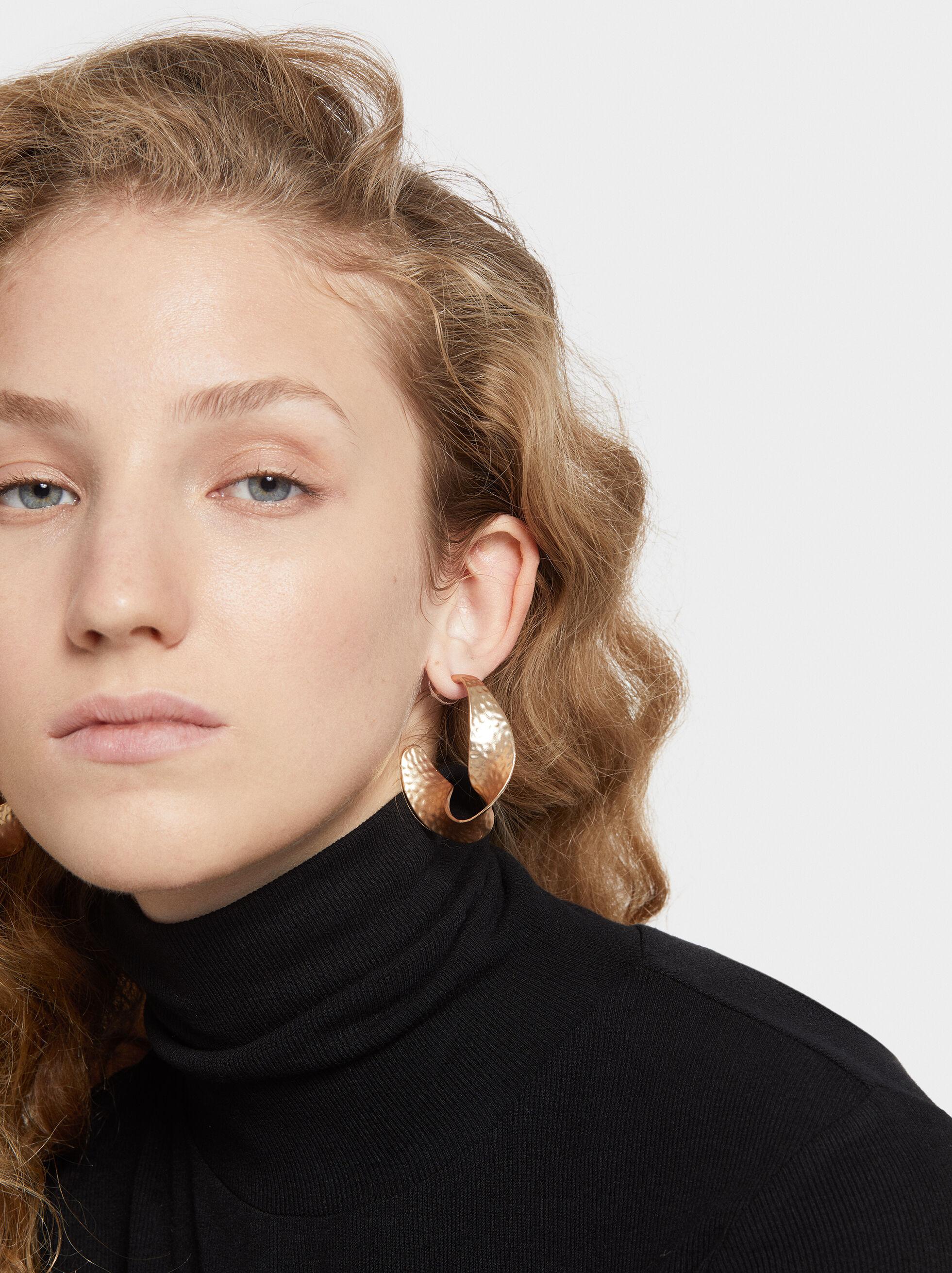 Medium-Sized Hoop Fever Twisted Hoop Earrings, , hi-res