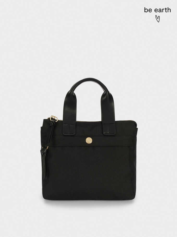 Nylon Shopper Bag Made From Recycled Materials, Black, hi-res