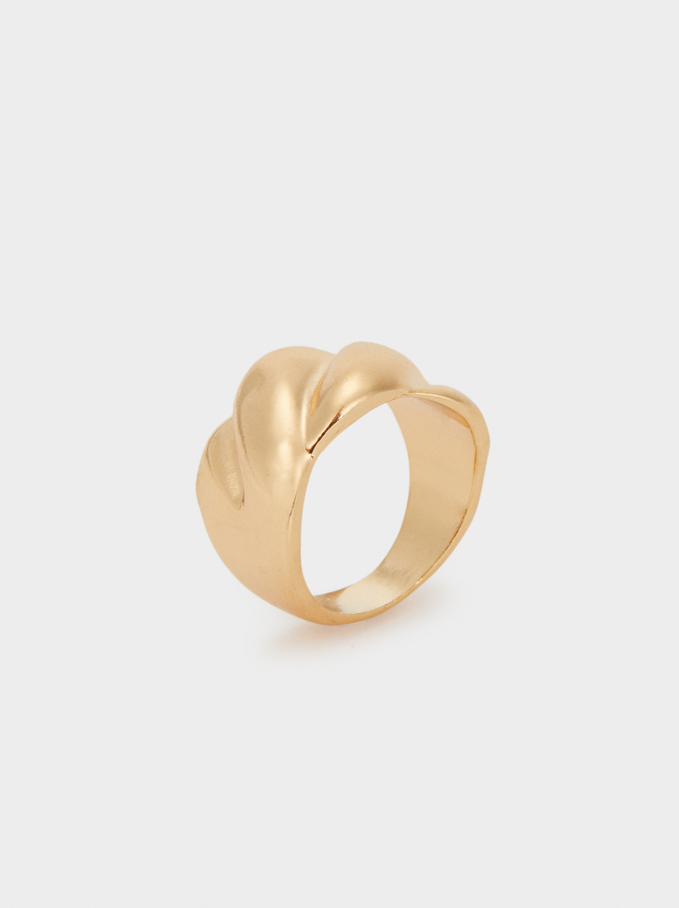 Basic Wide Ring, Golden, hi-res