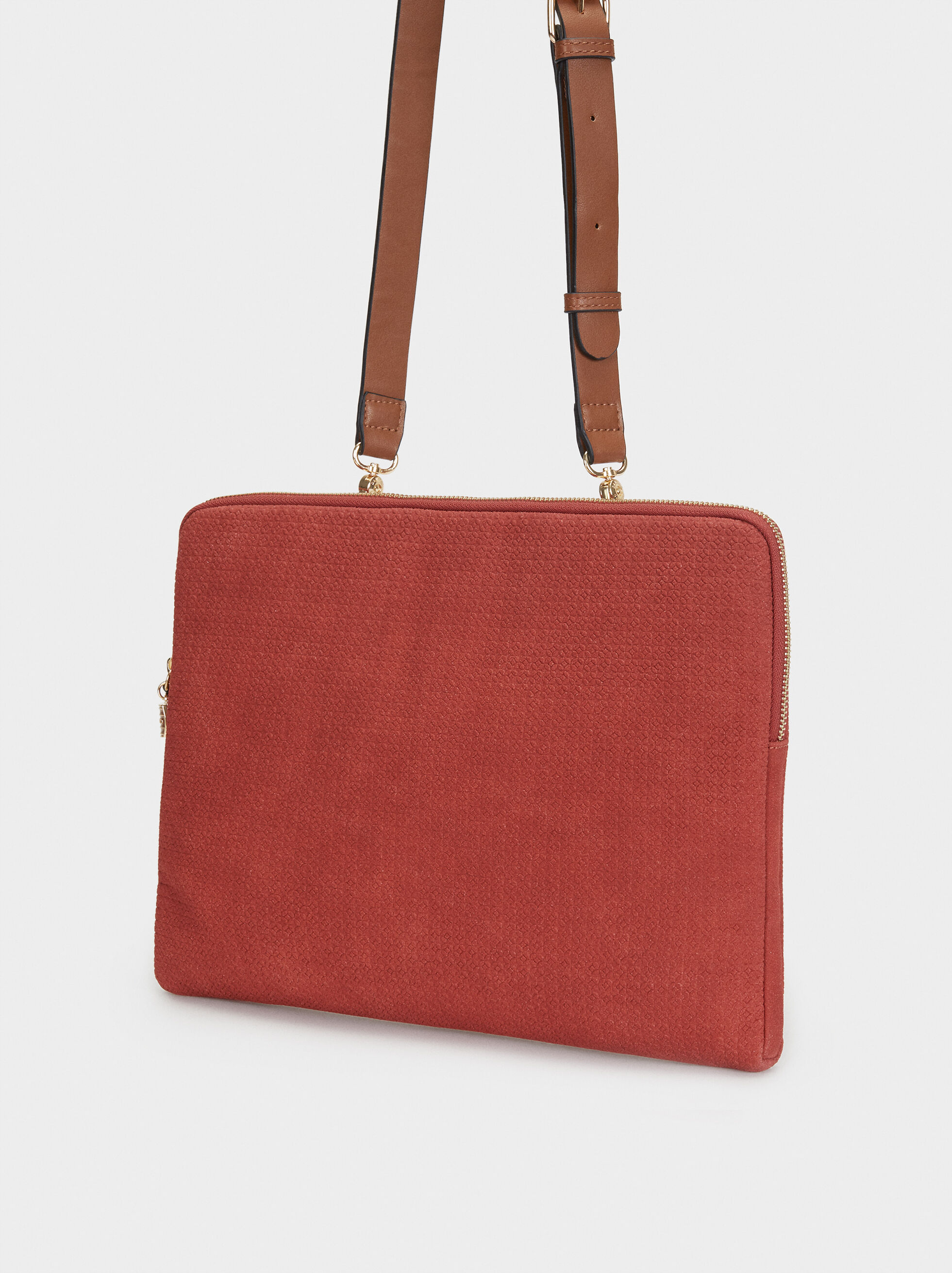 Suede Texture Briefcase, Brick Red, hi-res