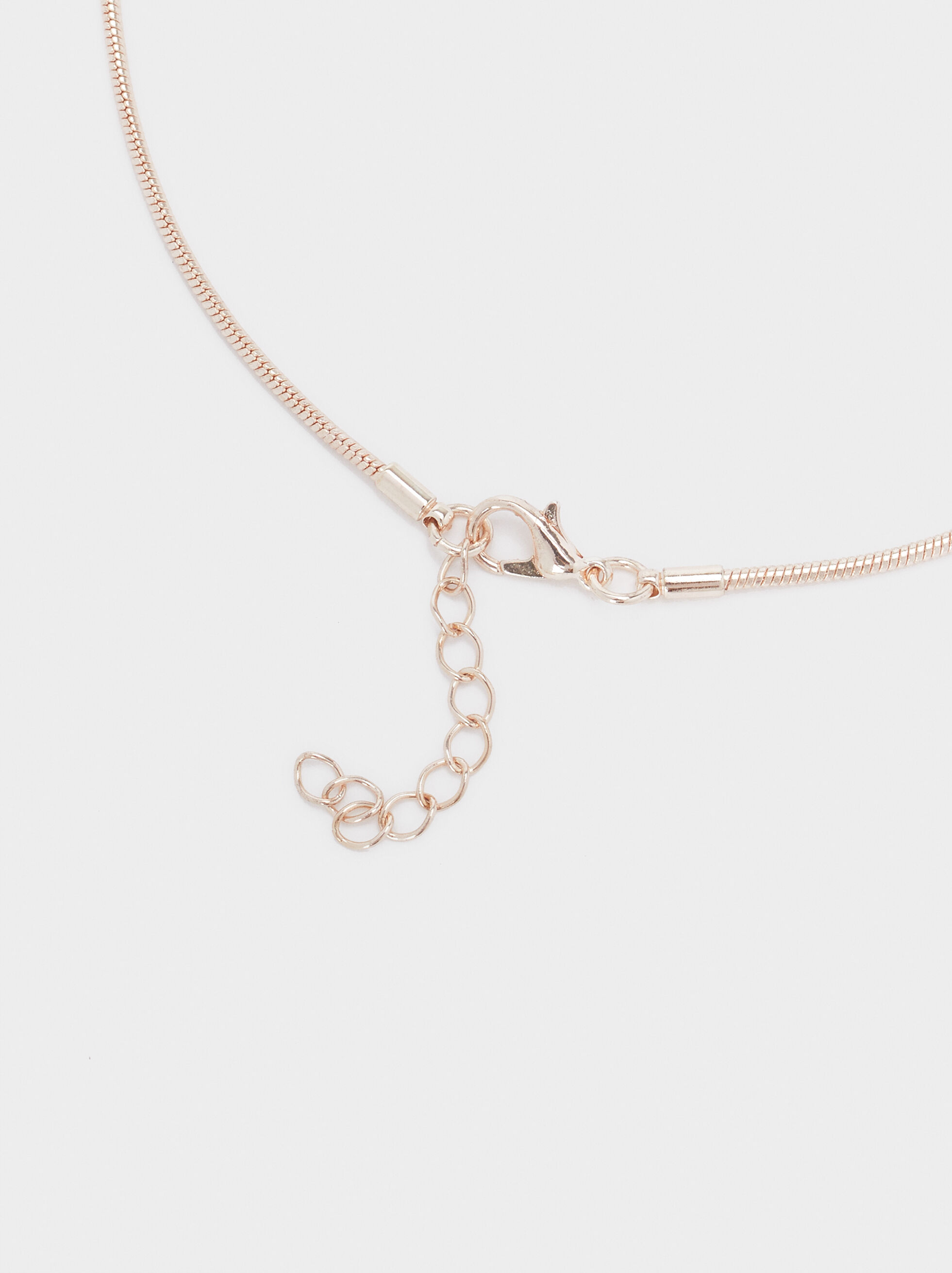Rose Gold Necklace With Pearl Detail, Orange, hi-res