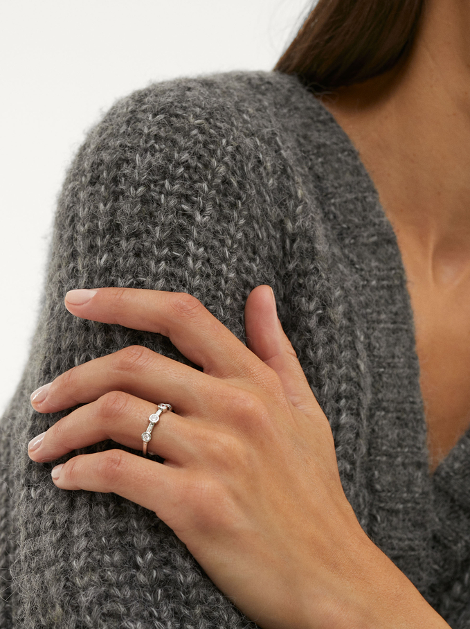 Ring With Zirconia, Silver, hi-res
