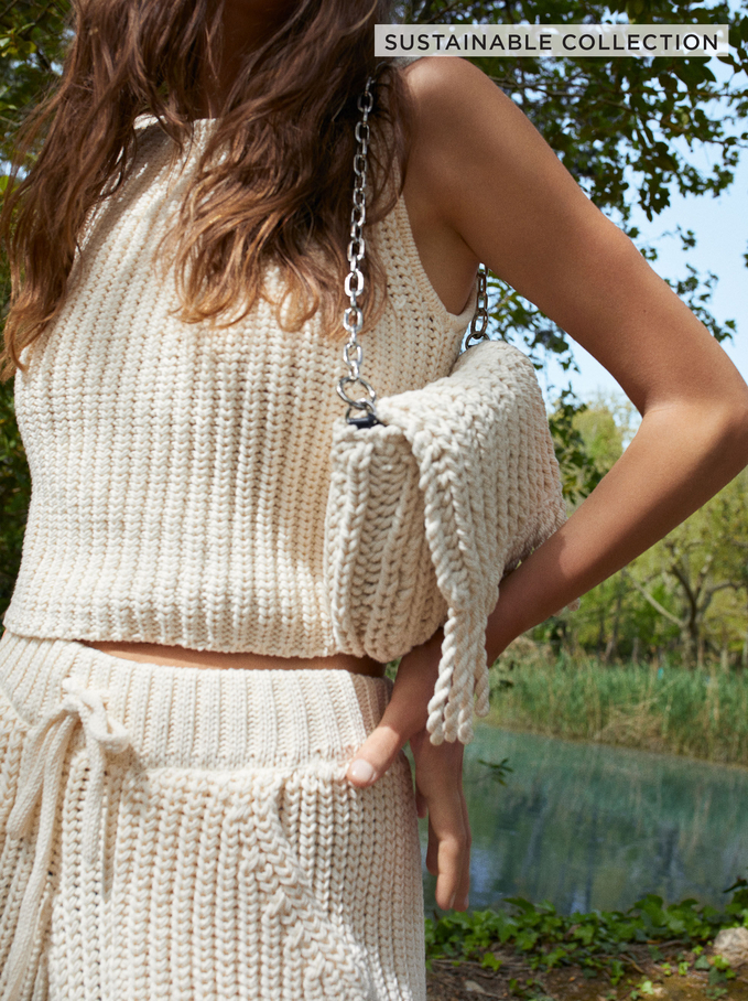 Limited Edition Knit Top Made From Recycled Materials, Ecru, hi-res