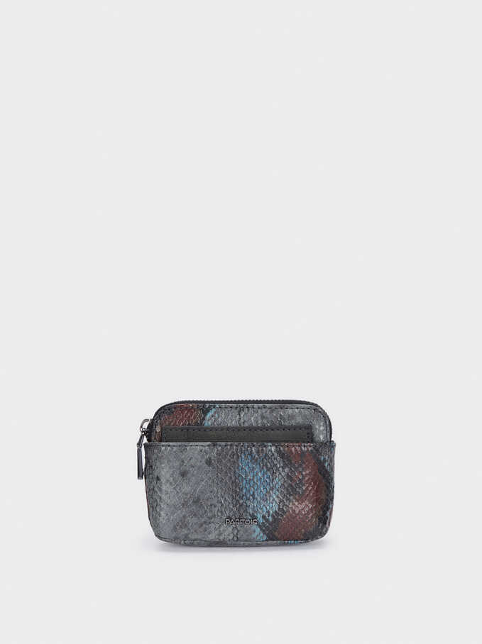 Snake Print Purse With Removable Card Holder , Blue, hi-res