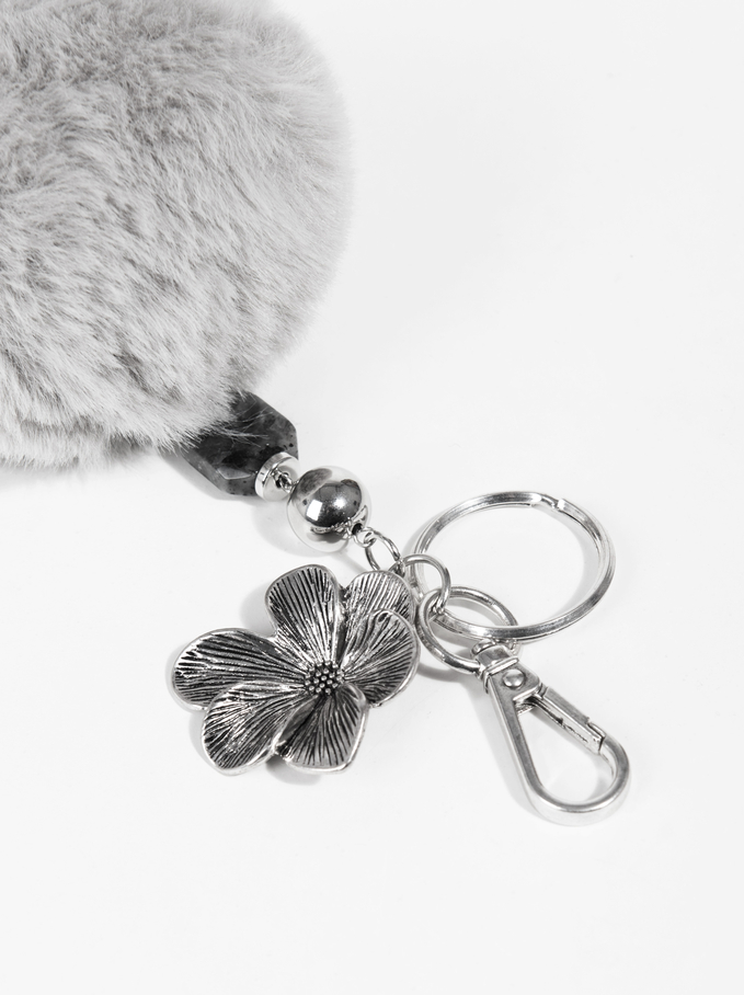 Pompom Keychain, Grey, hi-res