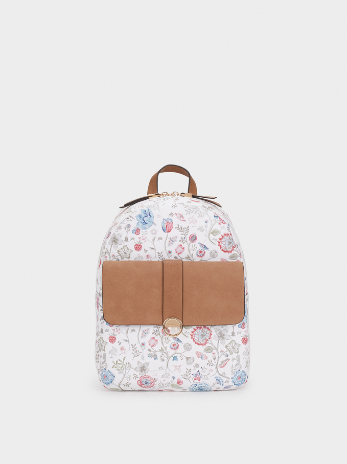 Floral Print Backpack, Pink, hi-res