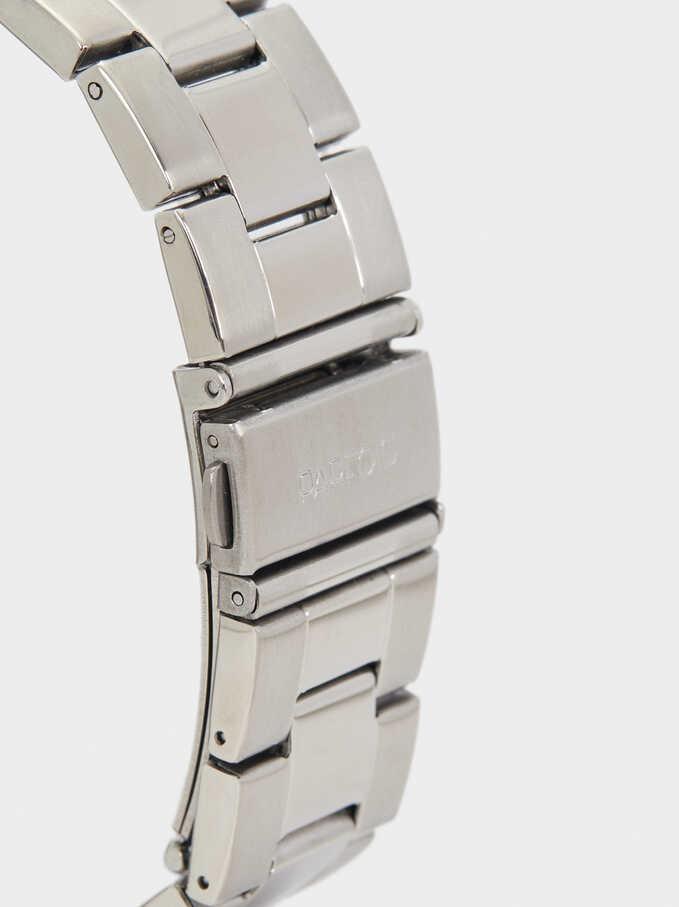 Reloj De Acero Con Cronómetro, Plateado, hi-res