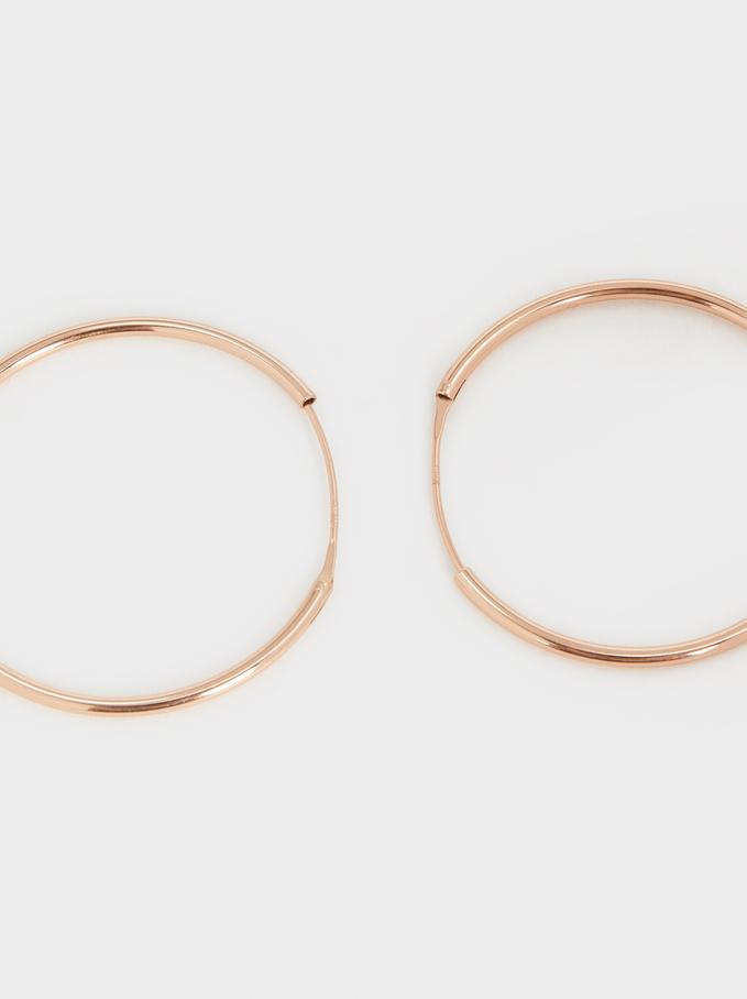925 Silver Gold-Finish Large Hoop Earrings, Orange, hi-res