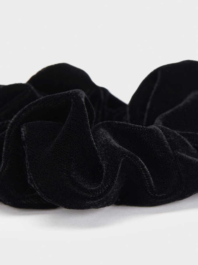 Velvet Hair Tie, Black, hi-res