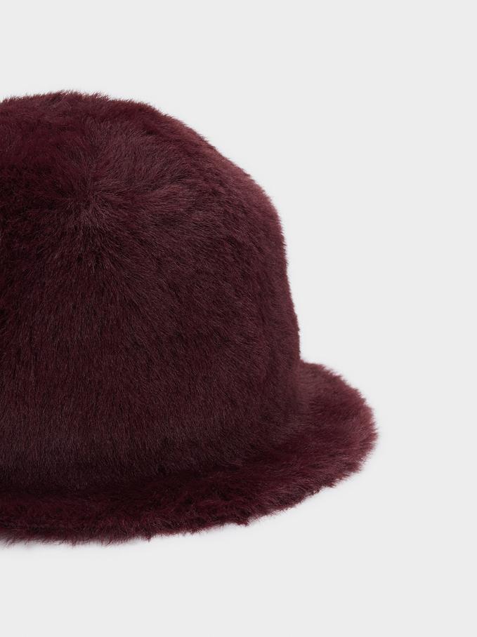 Faux Fur Hat, Bordeaux, hi-res