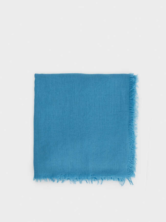 Plain Pashmina With Frayed Detailing, Blue, hi-res