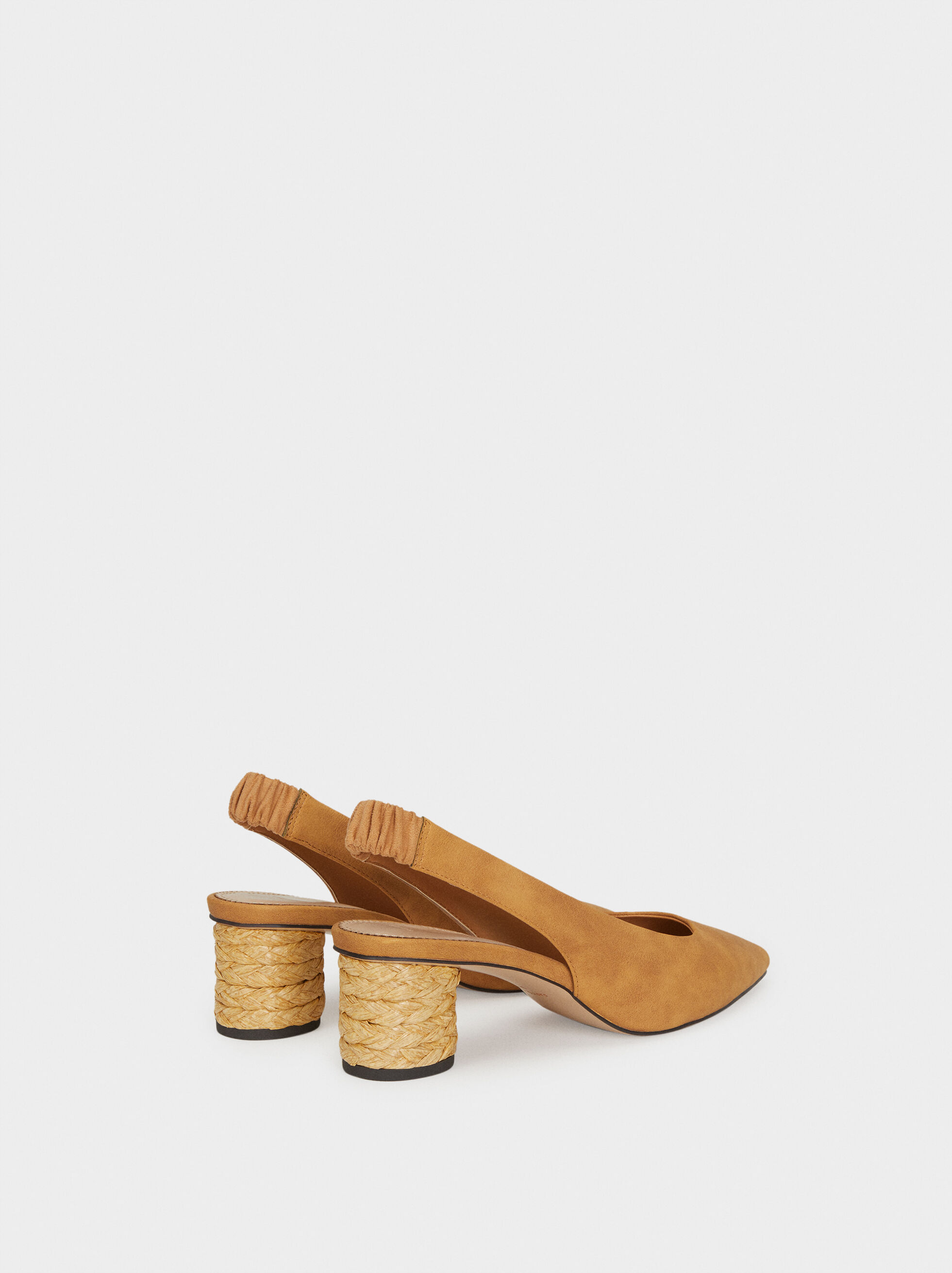 Slingback Shoes With Raffia Heels, Beige, hi-res