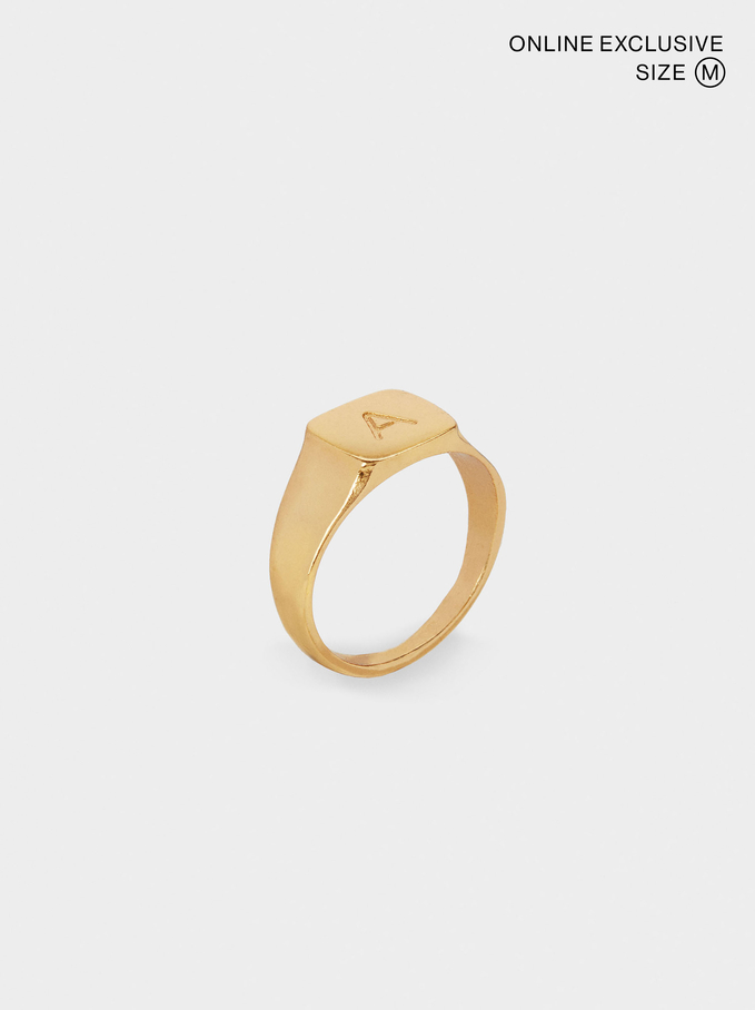 Signet Ring Size M, Golden, hi-res