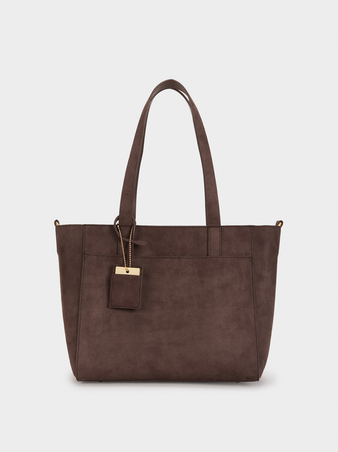 Suede Texture Tote Bag, Brown, hi-res
