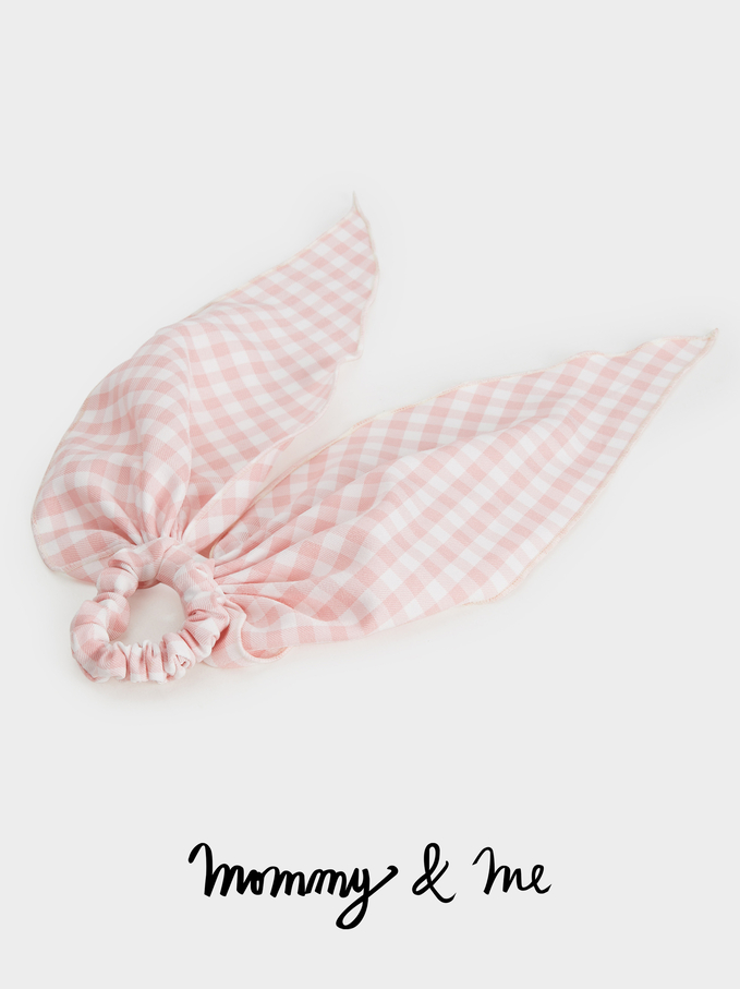 Gingham Hair Elastic Kid, Pink, hi-res