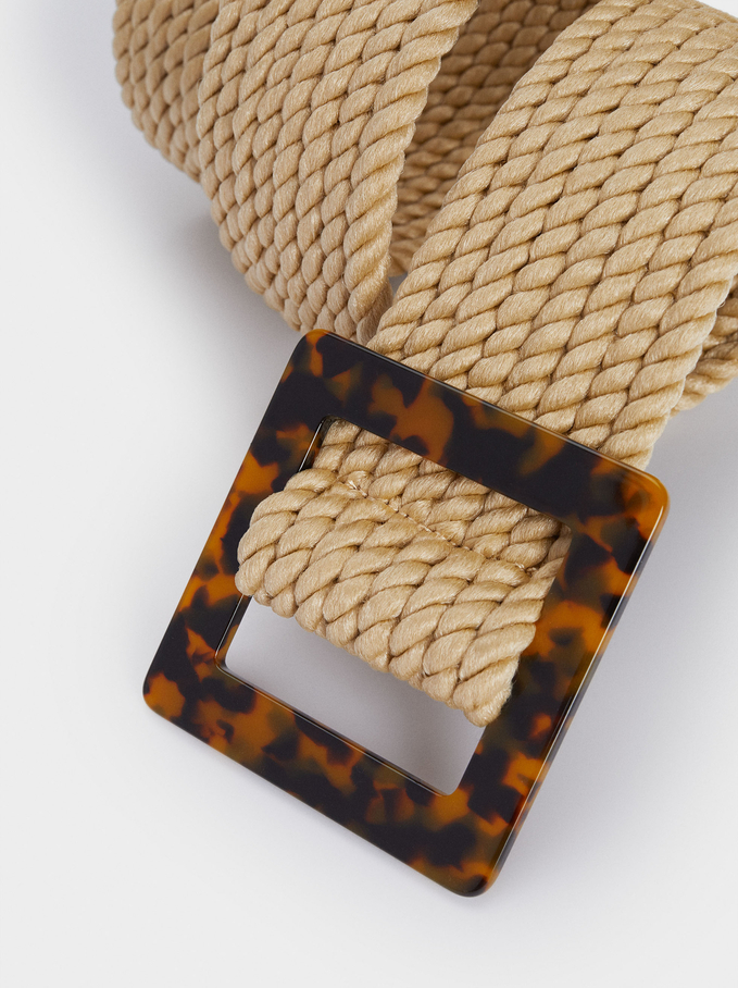 Belt With Tortoise-Shell Buckle, Beige, hi-res
