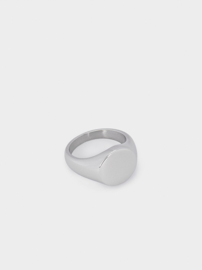 Pinky Finger Stainless Steel Signet Ring, Silver, hi-res